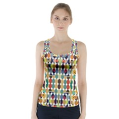 Retro Pattern Abstract Racer Back Sports Top