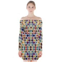 Retro Pattern Abstract Long Sleeve Off Shoulder Dress
