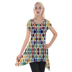 Retro Pattern Abstract Short Sleeve Side Drop Tunic