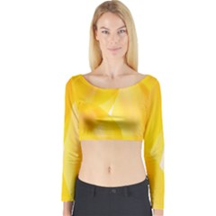 Yellow Pattern Painting Long Sleeve Crop Top