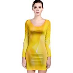 Yellow Pattern Painting Long Sleeve Bodycon Dress