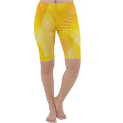 Yellow Pattern Painting Cropped Leggings