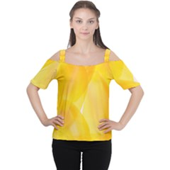 Yellow Pattern Painting Women s Cutout Shoulder Tee