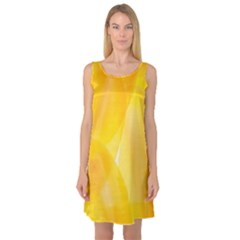 Yellow Pattern Painting Sleeveless Satin Nightdress