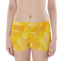 Yellow Pattern Painting Boyleg Bikini Wrap Bottoms