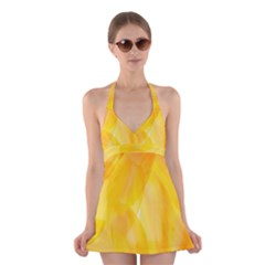 Yellow Pattern Painting Halter Swimsuit Dress