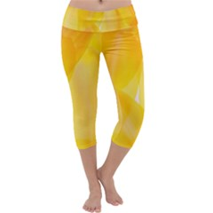 Yellow Pattern Painting Capri Yoga Leggings