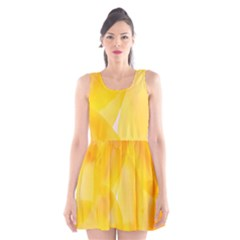 Yellow Pattern Painting Scoop Neck Skater Dress
