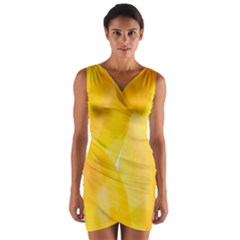 Yellow Pattern Painting Wrap Front Bodycon Dress