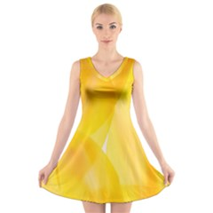 Yellow Pattern Painting V-Neck Sleeveless Skater Dress