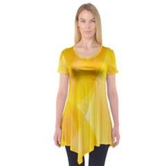 Yellow Pattern Painting Short Sleeve Tunic