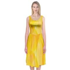 Yellow Pattern Painting Midi Sleeveless Dress