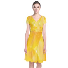 Yellow Pattern Painting Short Sleeve Front Wrap Dress