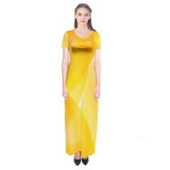 Yellow Pattern Painting Short Sleeve Maxi Dress