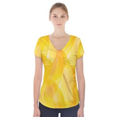 Yellow Pattern Painting Short Sleeve Front Detail Top