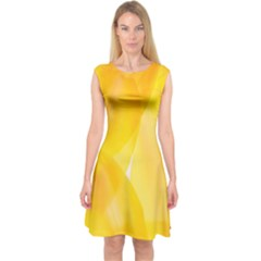 Yellow Pattern Painting Capsleeve Midi Dress