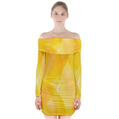 Yellow Pattern Painting Long Sleeve Off Shoulder Dress