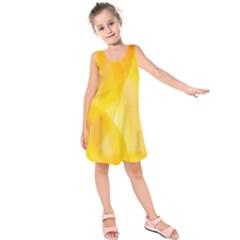 Yellow Pattern Painting Kids  Sleeveless Dress