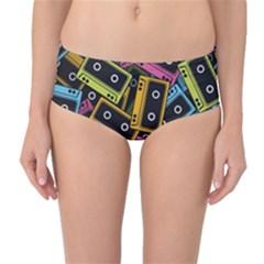 Type Pattern Mid Waist Bikini Bottoms