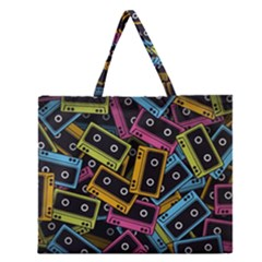Type Pattern Zipper Large Tote Bag