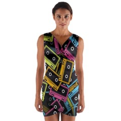 Type Pattern Wrap Front Bodycon Dress