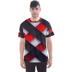 Red Textured Men s Sport Mesh Tee