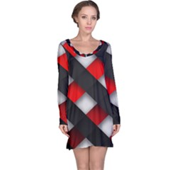 Red Textured Long Sleeve Nightdress