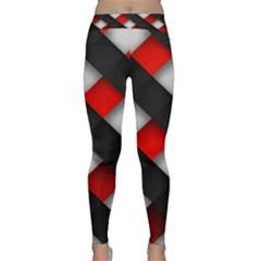 Red Textured Classic Yoga Leggings