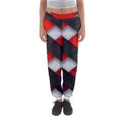 Red Textured Women s Jogger Sweatpants