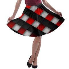 Red Textured A Line Skater Skirt