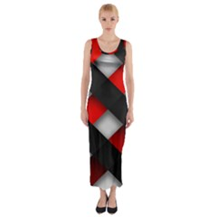 Red Textured Fitted Maxi Dress