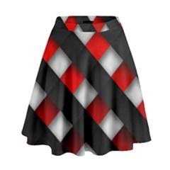 Red Textured High Waist Skirt