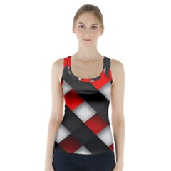 Red Textured Racer Back Sports Top
