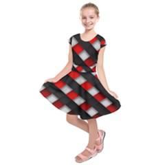 Red Textured Kids  Short Sleeve Dress