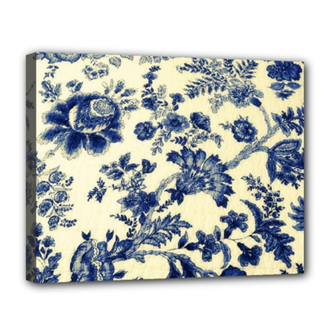 Vintage Blue Drawings On Fabric Canvas 14  X 11