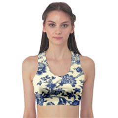 Vintage Blue Drawings On Fabric Sports Bra