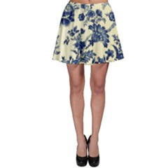 Vintage Blue Drawings On Fabric Skater Skirt