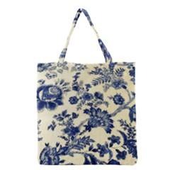 Vintage Blue Drawings On Fabric Grocery Tote Bag