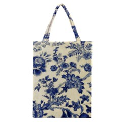 Vintage Blue Drawings On Fabric Classic Tote Bag