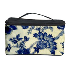 Vintage Blue Drawings On Fabric Cosmetic Storage Case