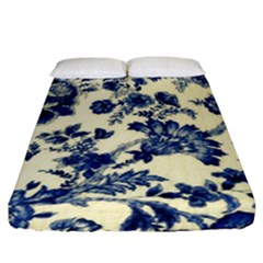 Vintage Blue Drawings On Fabric Fitted Sheet (california King Size)