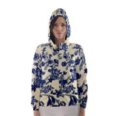 Vintage Blue Drawings On Fabric Hooded Wind Breaker (women)