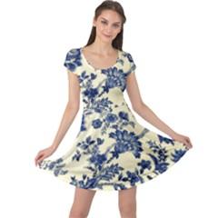 Vintage Blue Drawings On Fabric Cap Sleeve Dresses