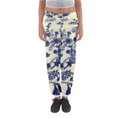 Vintage Blue Drawings On Fabric Women s Jogger Sweatpants