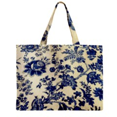 Vintage Blue Drawings On Fabric Zipper Mini Tote Bag