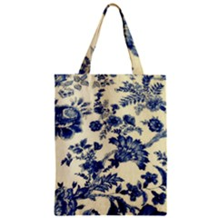 Vintage Blue Drawings On Fabric Zipper Classic Tote Bag