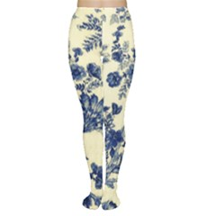 Vintage Blue Drawings On Fabric Women s Tights