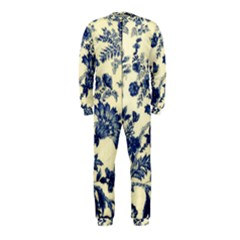 Vintage Blue Drawings On Fabric Onepiece Jumpsuit (kids)