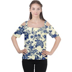 Vintage Blue Drawings On Fabric Women s Cutout Shoulder Tee