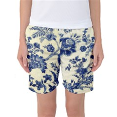 Vintage Blue Drawings On Fabric Women s Basketball Shorts